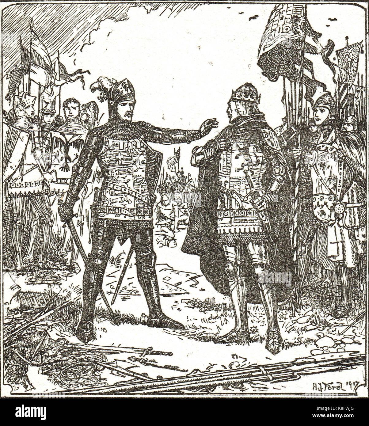 Der schwarze Prinz, Edward von Woodstock, lehnt einen du Guesclin Pedro, der Schlacht von nájera zu don, 3. Stockbild