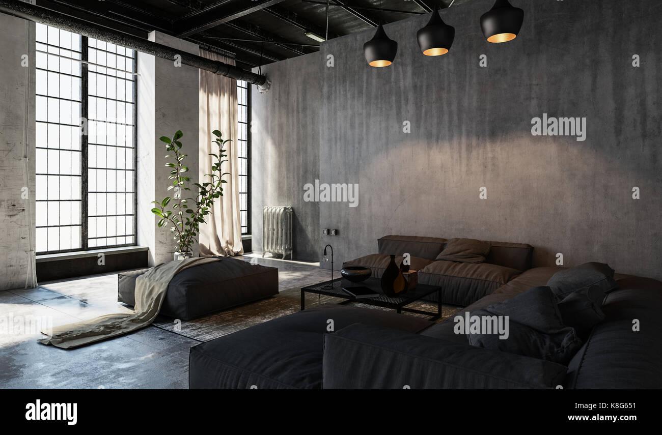 Fenster Loft große fenster im loft stil geräumige möblierte wohnzimmer stockfoto