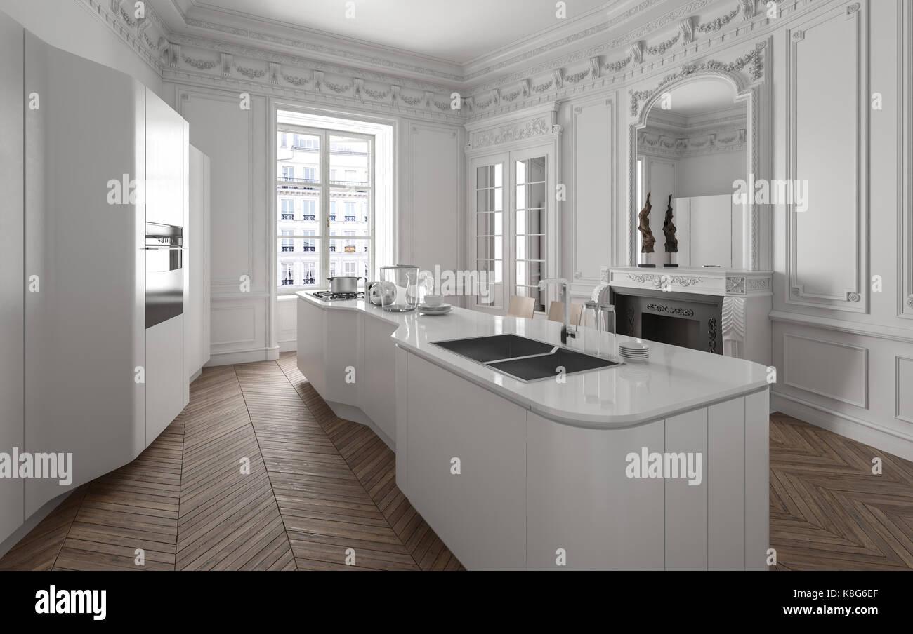 moderne wei e einbauk che mit einem gro en zentrum der. Black Bedroom Furniture Sets. Home Design Ideas