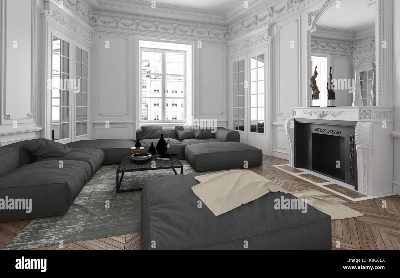 Apartment Einrichtung luxus apartment wohnzimmer einrichtung mit klassischen wandleisten