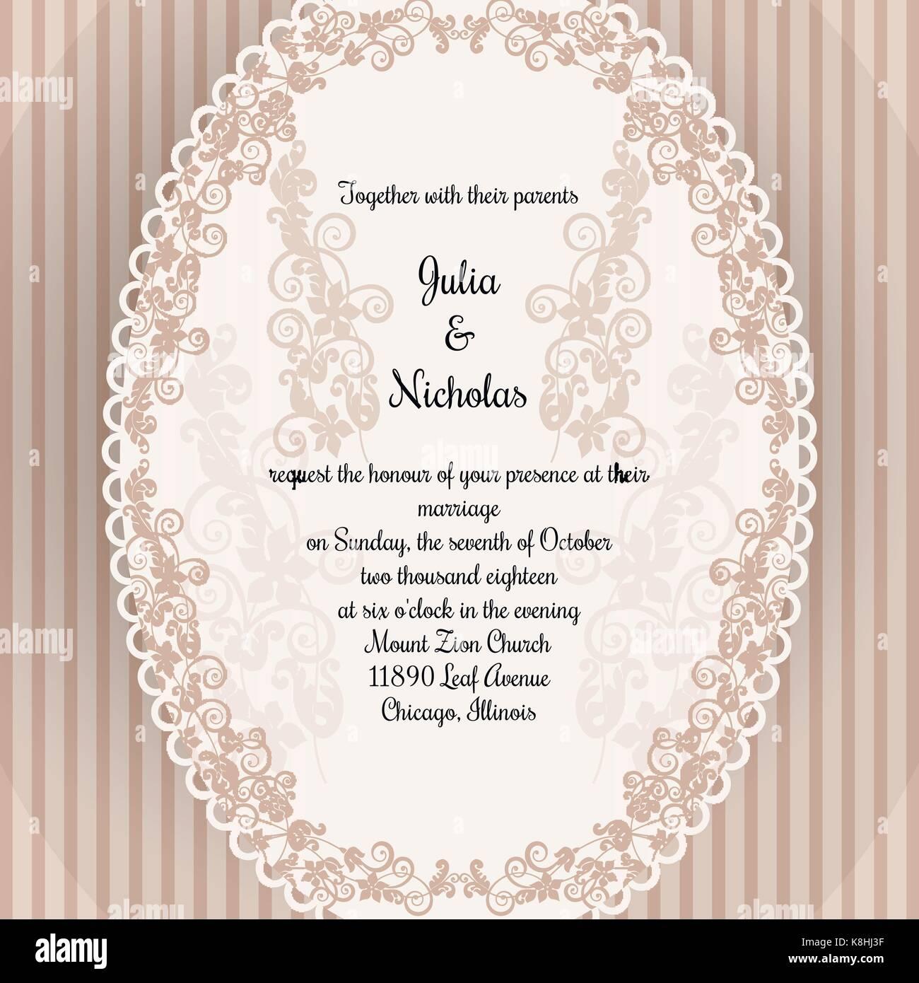 Hochzeit Karte Vorlage mit ovaler Rahmen und Blume ornament ...
