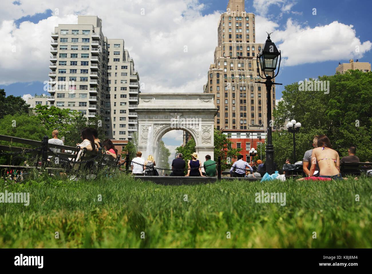 New York, NY, USA - Juni 1, 2017 New York: Touristen und Einheimischen gleichermaßen genießen Sie einen Stockbild