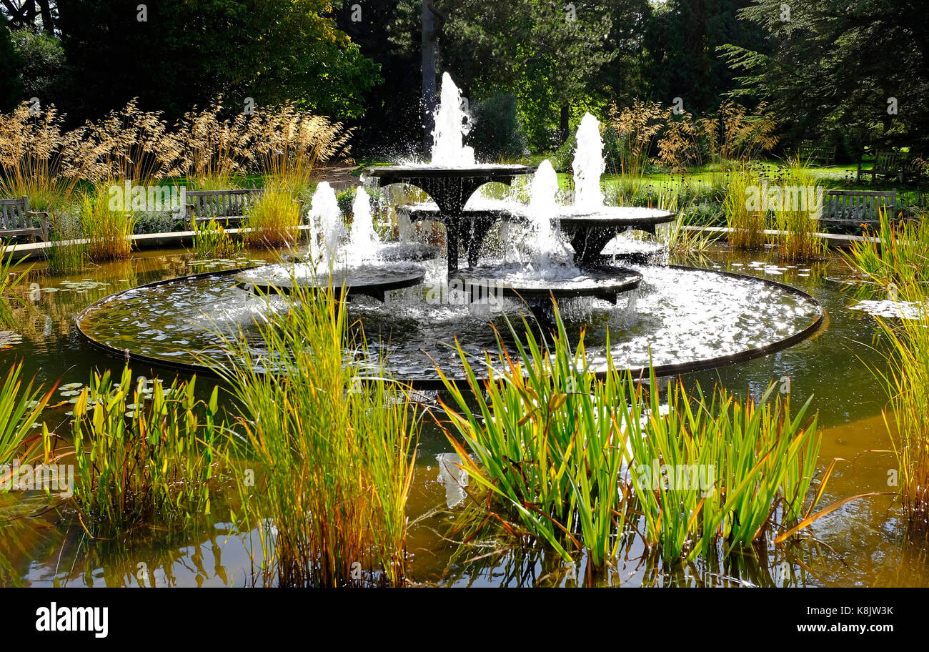 circular pond with fountain stockfotos circular pond with fountain bilder alamy. Black Bedroom Furniture Sets. Home Design Ideas