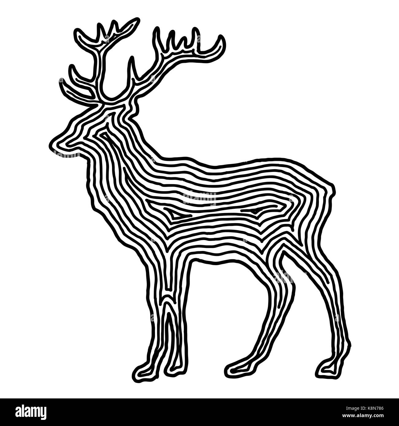 Cute Line Icon Deer Cartoon Stockfotos Cute Line Icon Deer Cartoon