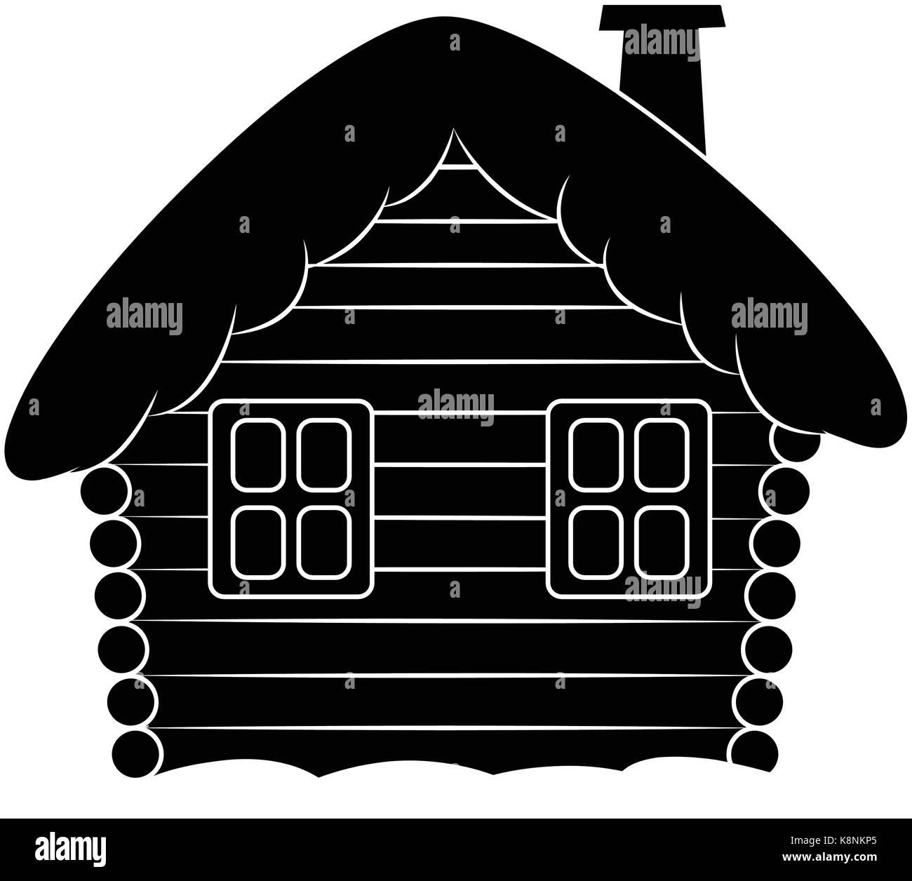 Haus mit Schnee cartoon silhouette Abbildung. Winter verschneite ...