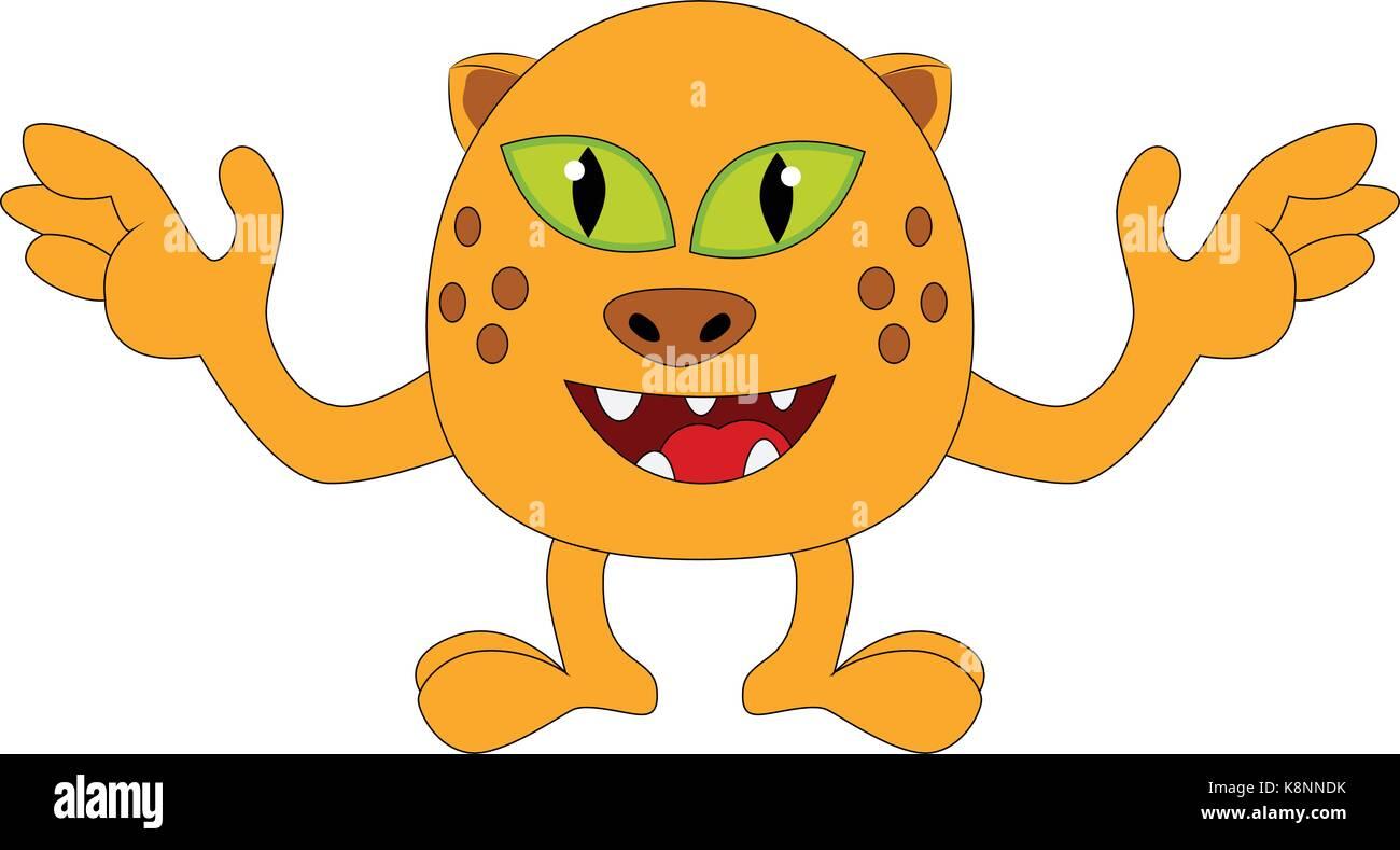 halloween happy cartoon monster lustig nett tiger katze charakter vector illustration auf. Black Bedroom Furniture Sets. Home Design Ideas