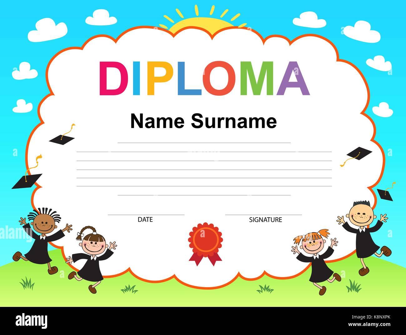 Kinder Diplom Zertifikat Hintergrund Design-Vorlage Vektor Abbildung ...