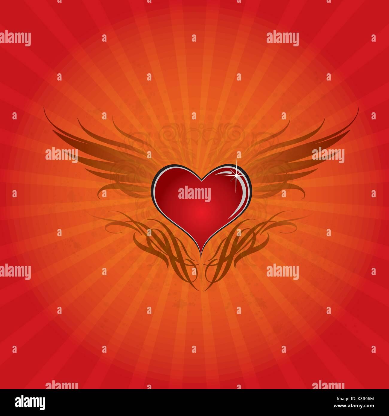Herz Flügel Hintergrund Stockbild