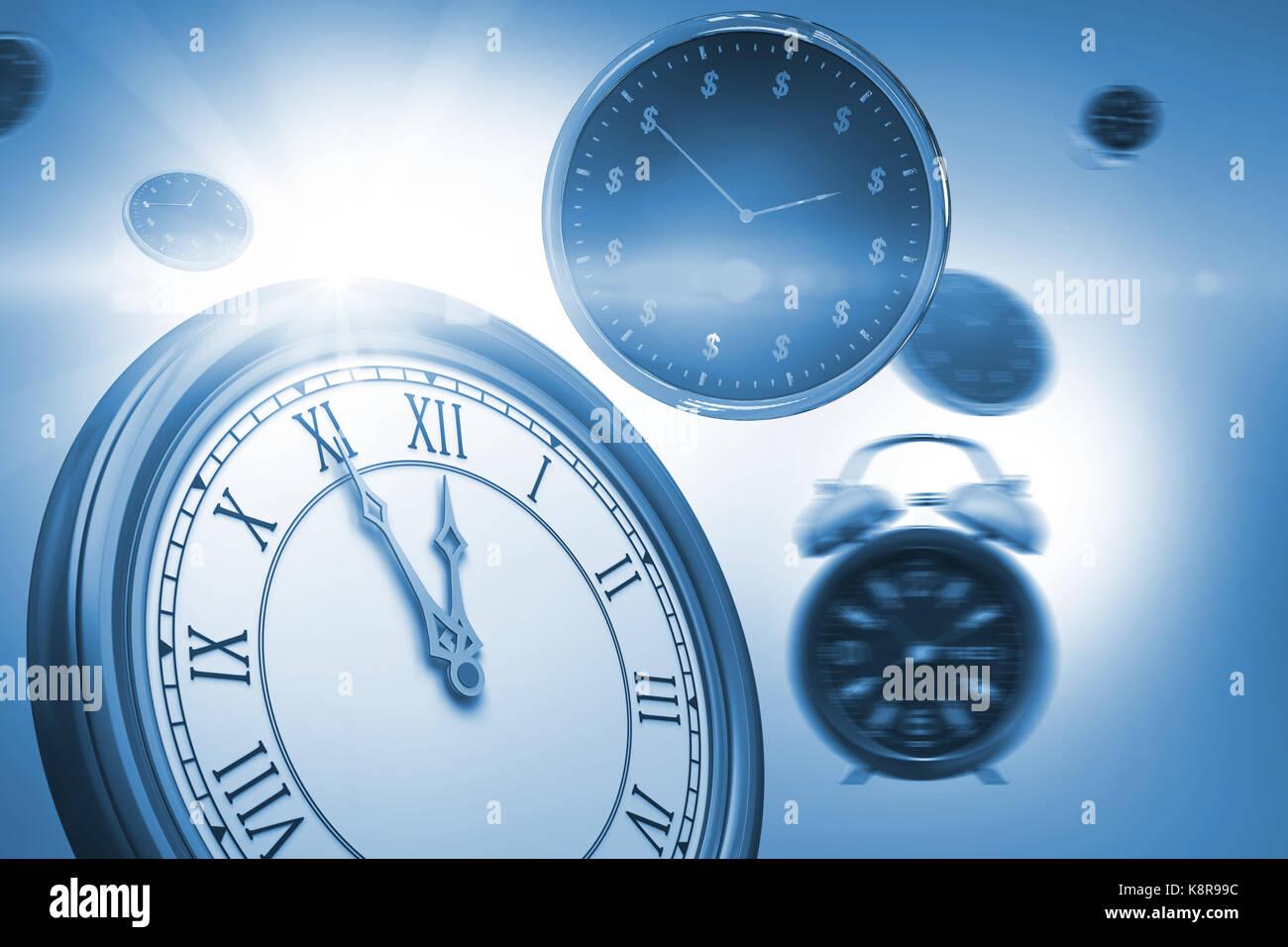 Computer erzeugte Bild von Uhren auf weißem Hintergrund Stockbild