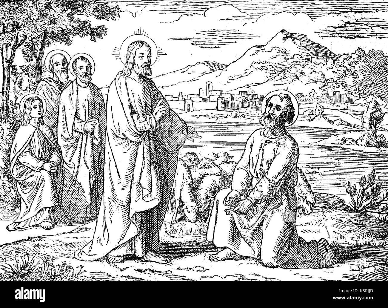 Jesus Christus, Du bist Petrus, der Fels, und auf diesen Felsen werde ich meine Kirche, Jesus Christus, Du bist Stockbild