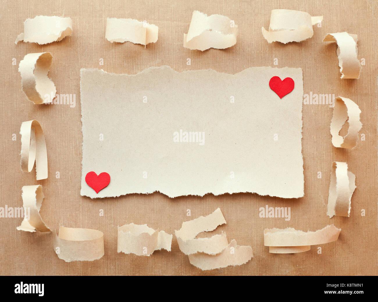 Handgefertigte Karte Aus Papier. Schreiben Liebe. Valentinstag Stockbild