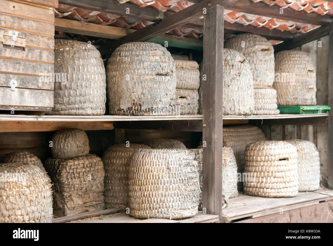 Bienenstöcke für die Honigerzeugung Stockbild