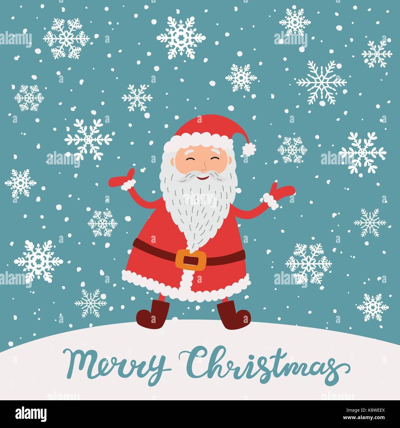 Frohe Weihnachten. Santa Claus Weihnachten Schnee Szene Vektor ...