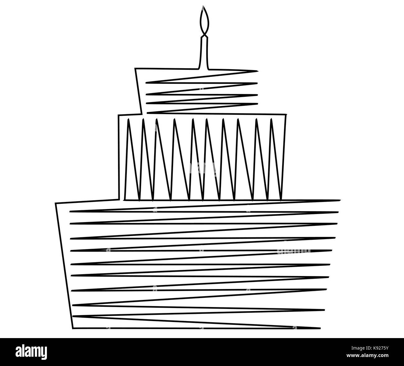 Geburtstag Kuchen Eine Linie Zeichnen Vektor Abbildung Bild