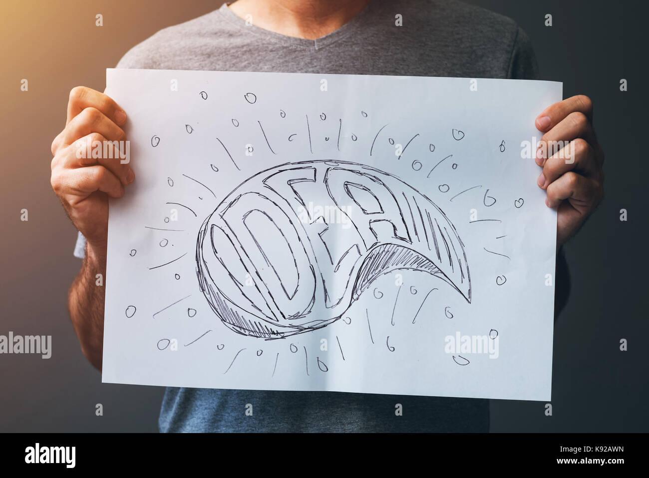 Ideen und Innovationen, Kreativität in Grafik-Design, Illustration und schreiben Stockbild