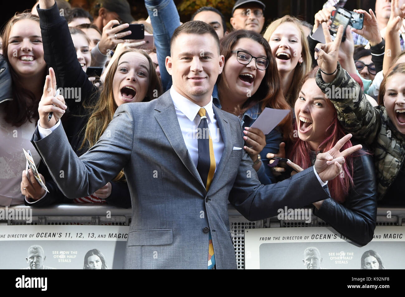 """Niederländische Premiere von """"Logan Lucky"""" im Pathé Tuschinski in Amsterdam, Niederlande. Aufmachung: Channing Tatum Stockfoto"""