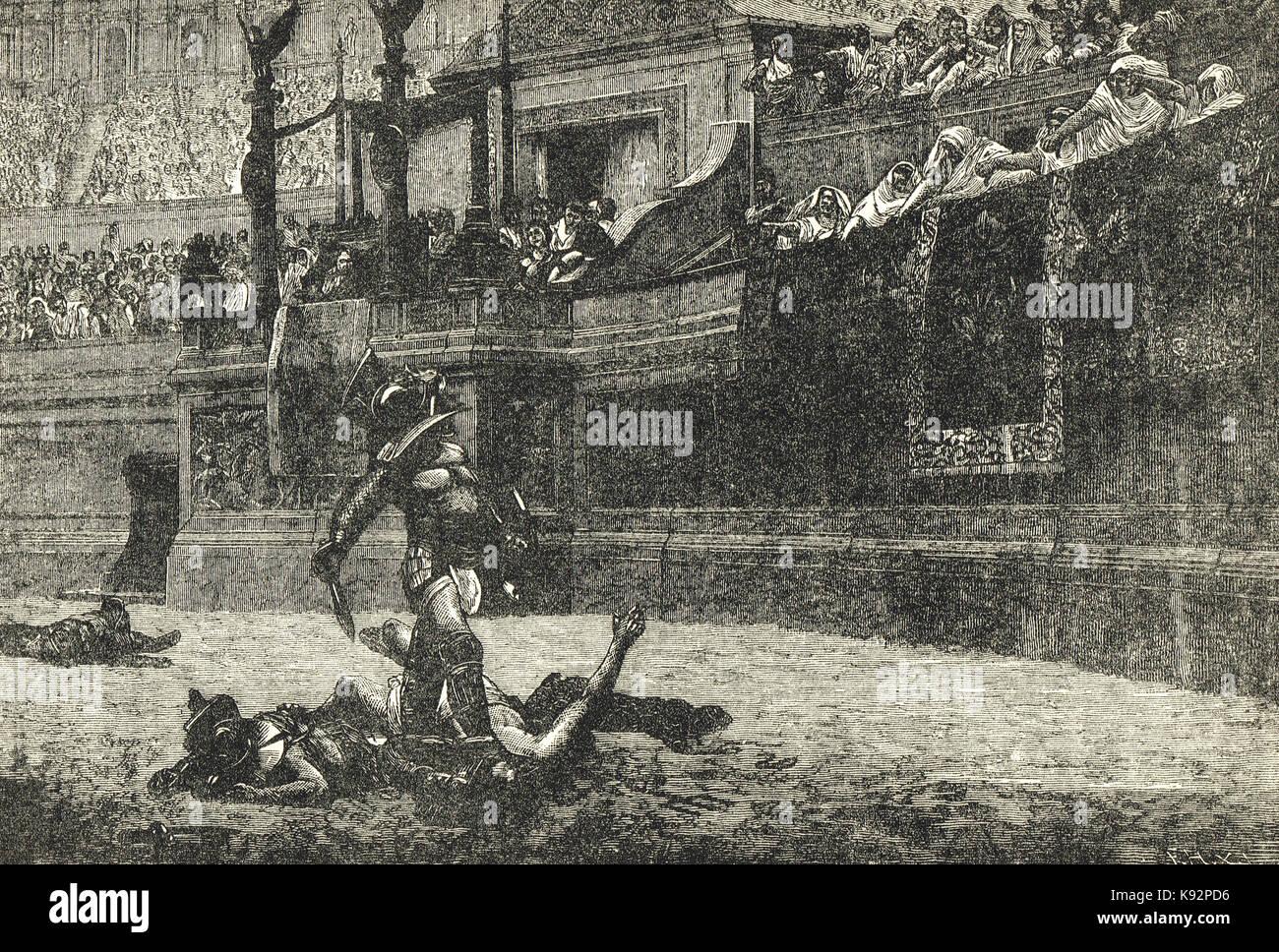 Römische Gladiatoren, der Aufruf zur Barmherzigkeit Stockfoto