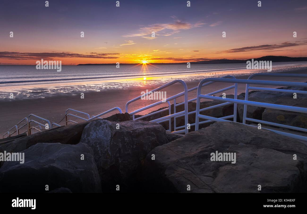 Aberavon Beach Sonnenuntergang Stockfoto