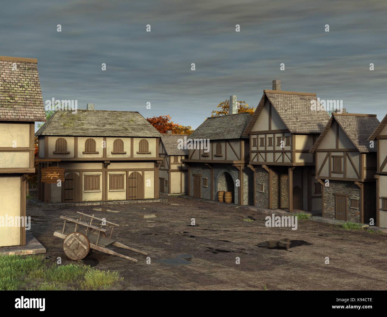 mittelalterliches Dorf Stockbild