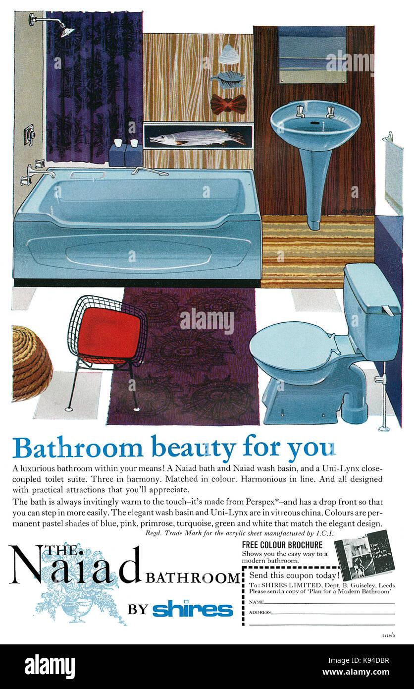 1965 Britischen Werbung Für Shires Naiad Möbel Für Das Badezimmer.