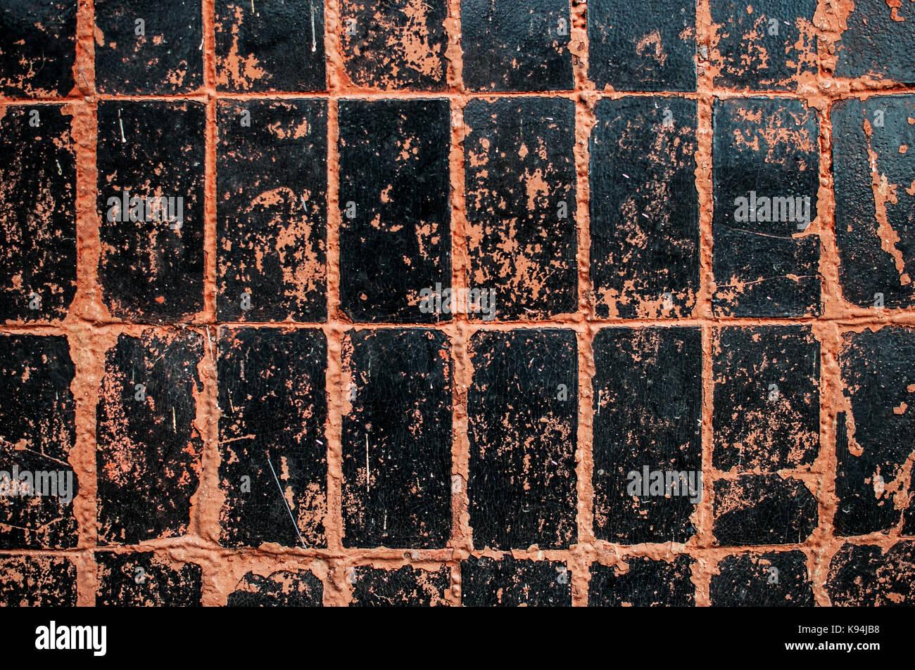 Schwarz Und Orange Wandfliesen Textur Hintergrund Mit Kratzern Und