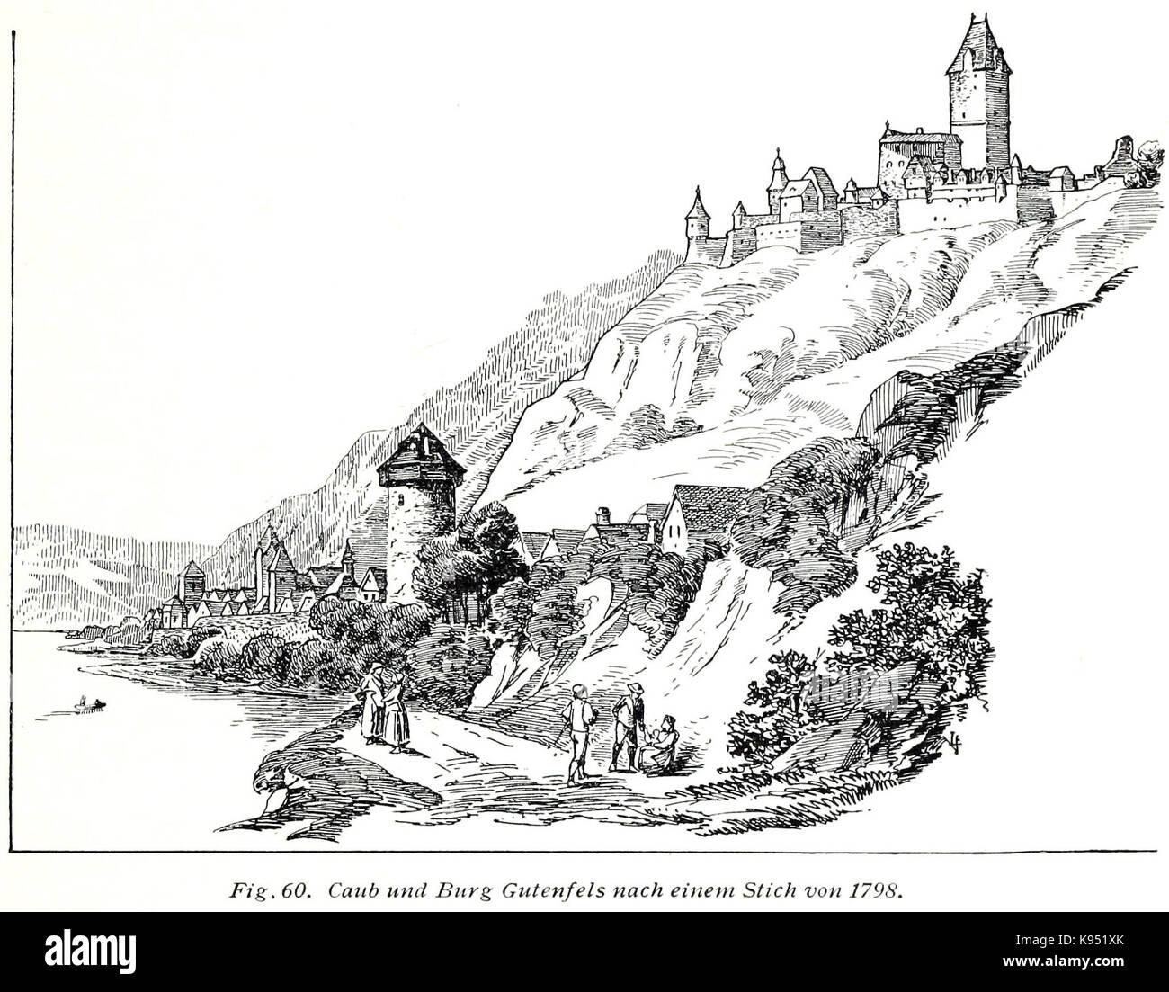 Luthmer V 60 Kaub und Burg Gutenfels nach einem Stich von 1798 Stockbild