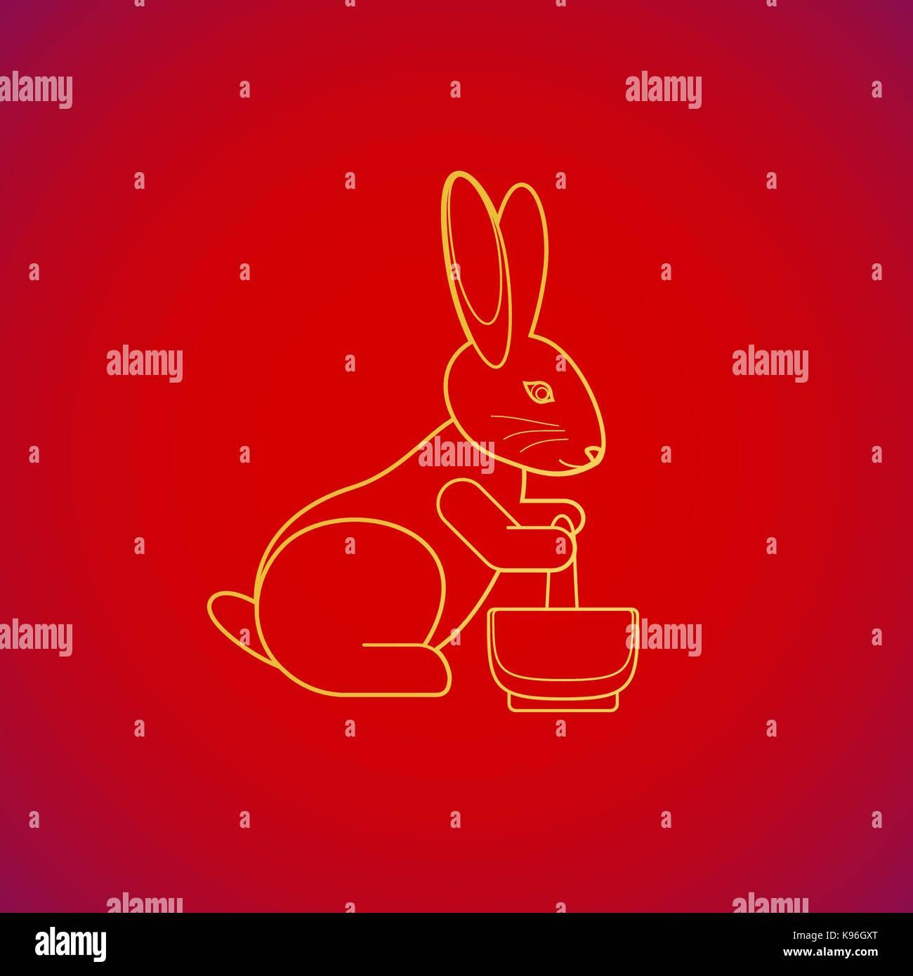 Vektor Gold Farbe traditionelle chinesische Mond Kaninchen stampfen ...