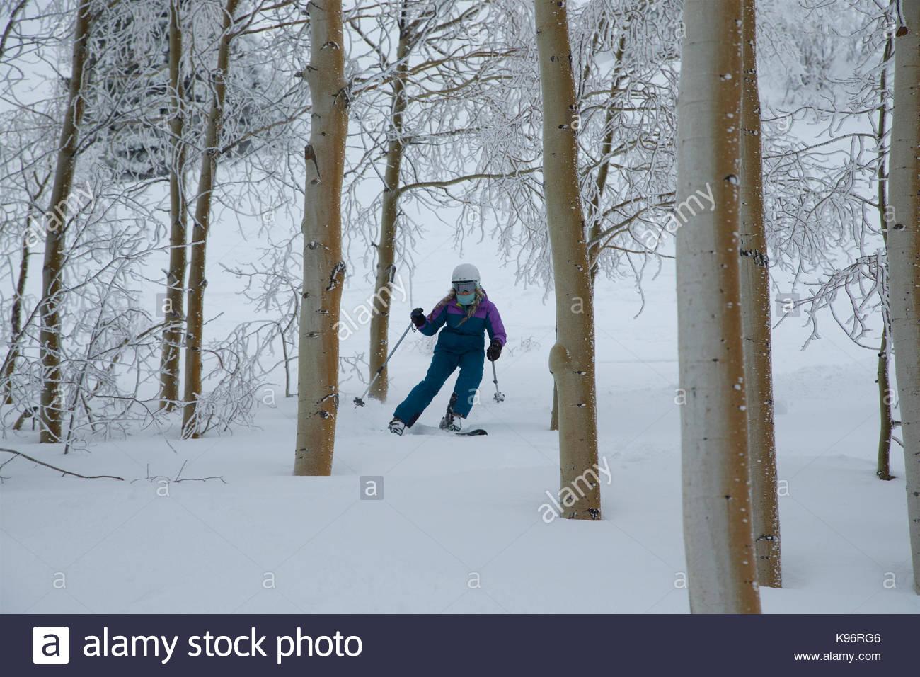 Ein jugendlich Mädchen Skifahren durch die Bäume an einem stürmischen Tag. Stockbild