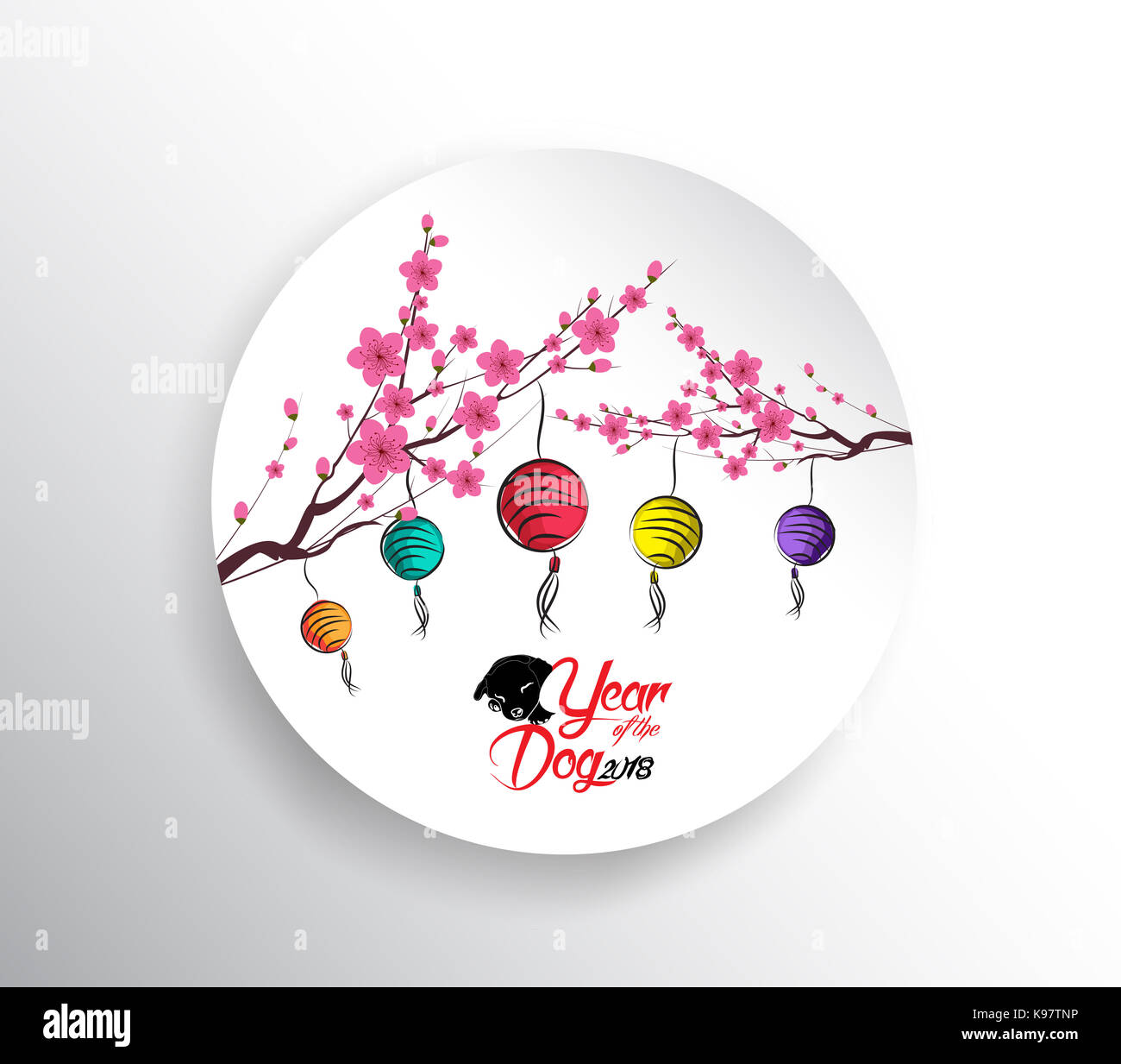 Happy Chinese New Year 2018. Seasons Greetings. Laterne Design. Jahr ...