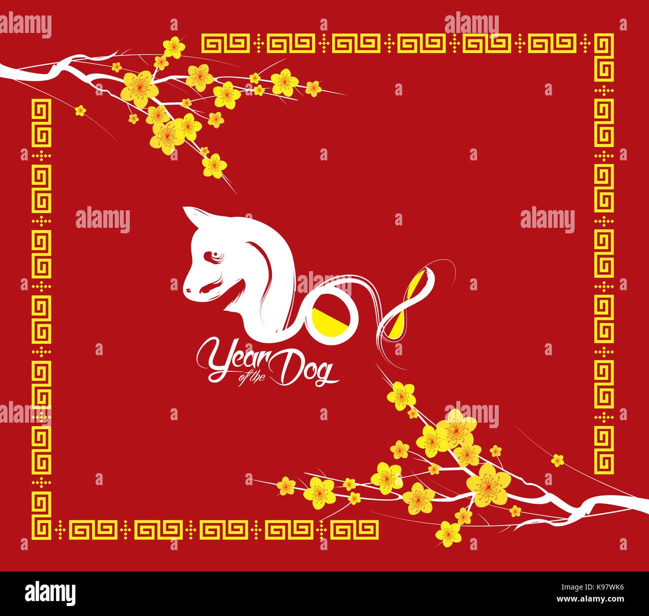 Orientalische Happy Chinese New Year 2018. Jahr des Hundes Stockfoto ...