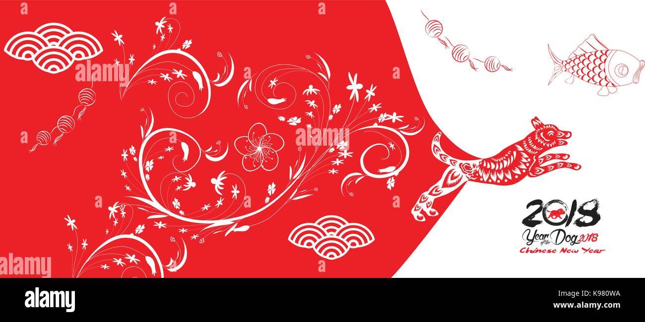 Frohes neues Jahr, Hund 2018, Chinesisches neues Jahr Grüße, Jahr ...