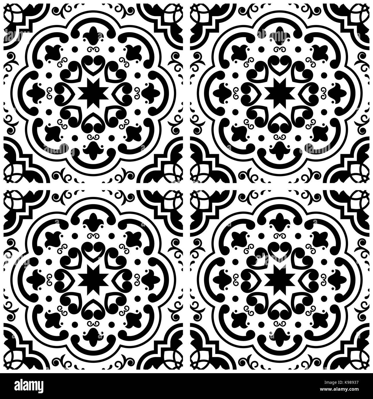 Azulejos Portugiesische Fliesen Muster, Lissabon Nahtlose Schwarzen Und  Weißen Fliesen, Vintage Geometrische Keramik