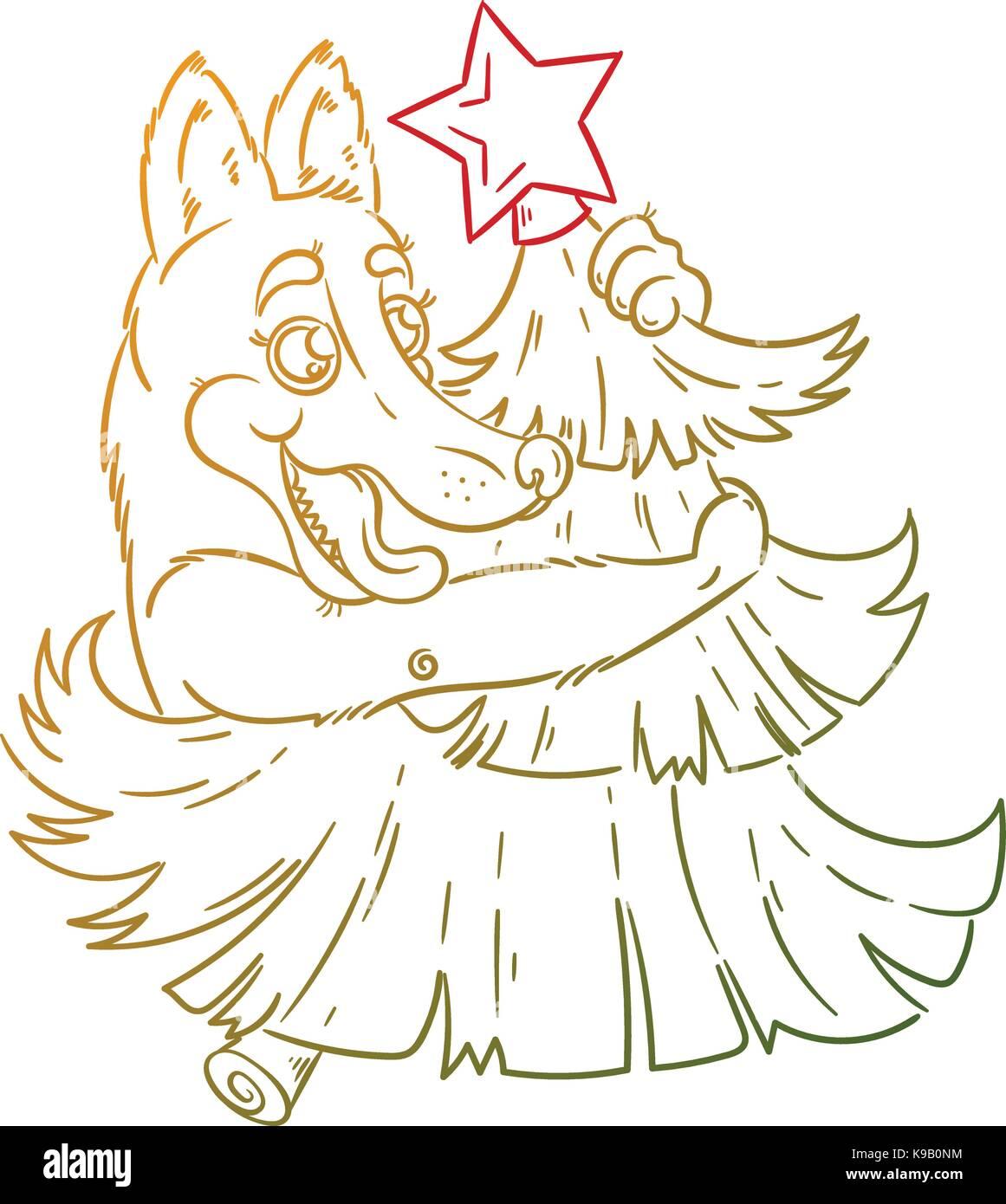Hand gezeichnet Abbildung mit einem gelben doodle Hund mit ins Neue ...