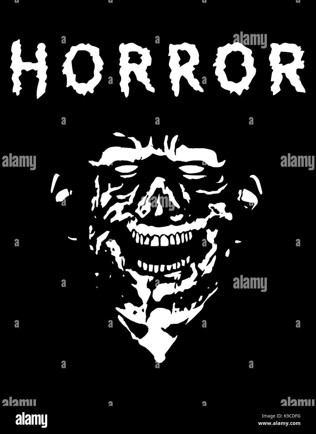 Spooky zombie Kopf mit zerrissenen Gesicht. Farben Schwarz und Weiß ...