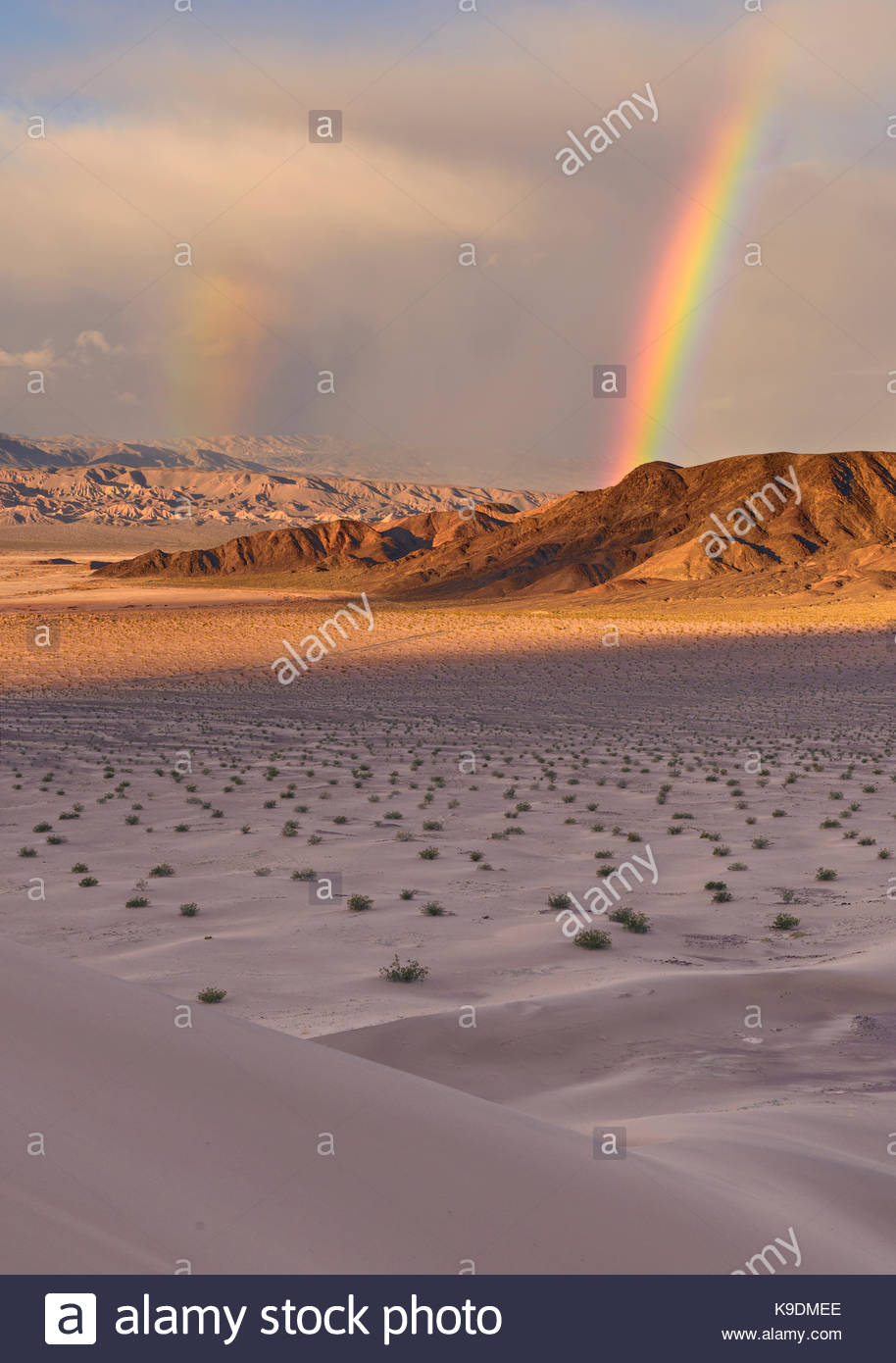 Doppelter Regenbogen über Saratoga Feder von Ibex Dünen, Death Valley National Park, Kalifornien Stockbild