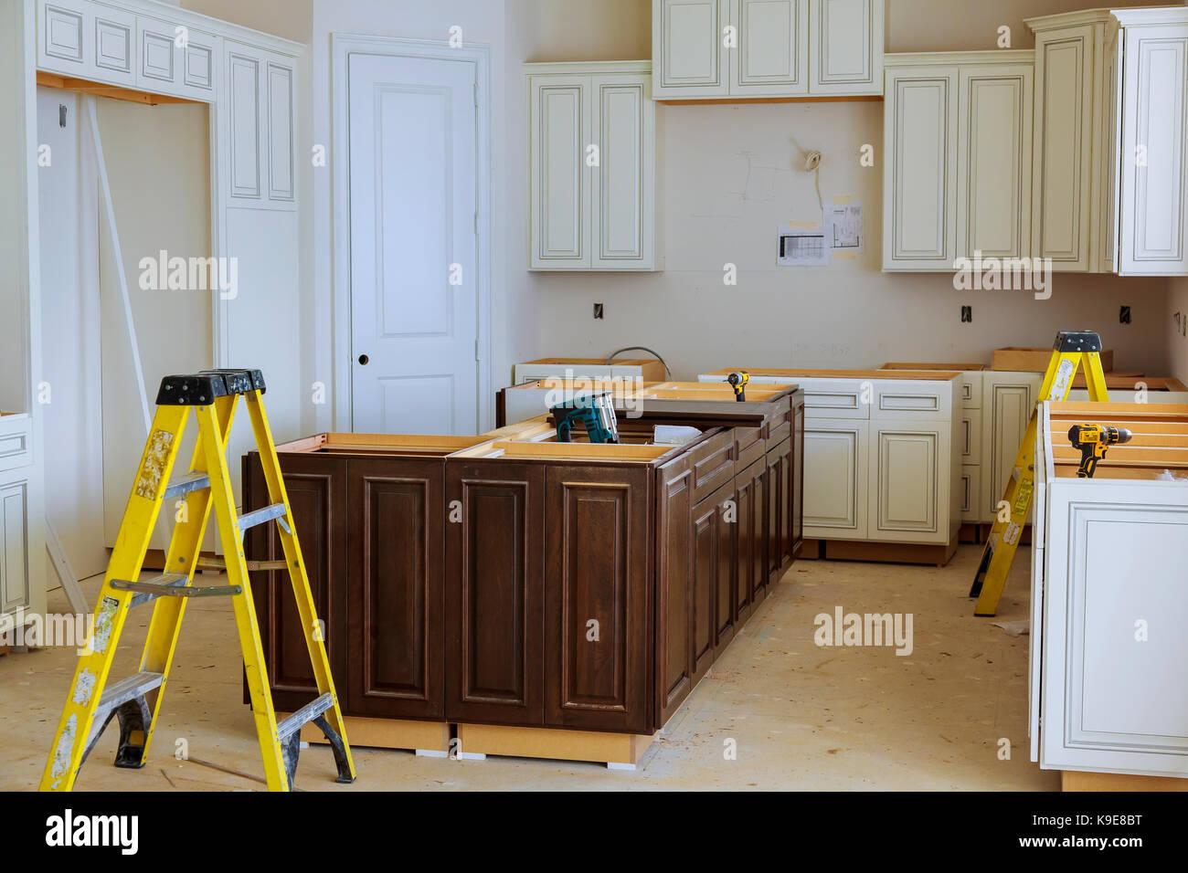 Interior Design Bau einer Küche mit Herd Ventilator Dunstabzugshaube ...