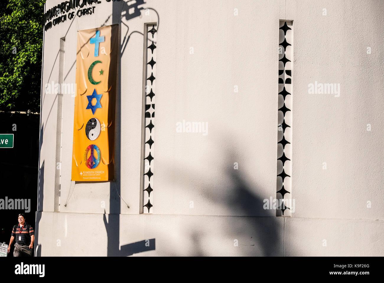 Ein Banner von koexistieren Symbole der Christlichen Islam Judentum Buddhismus Frieden Stockbild