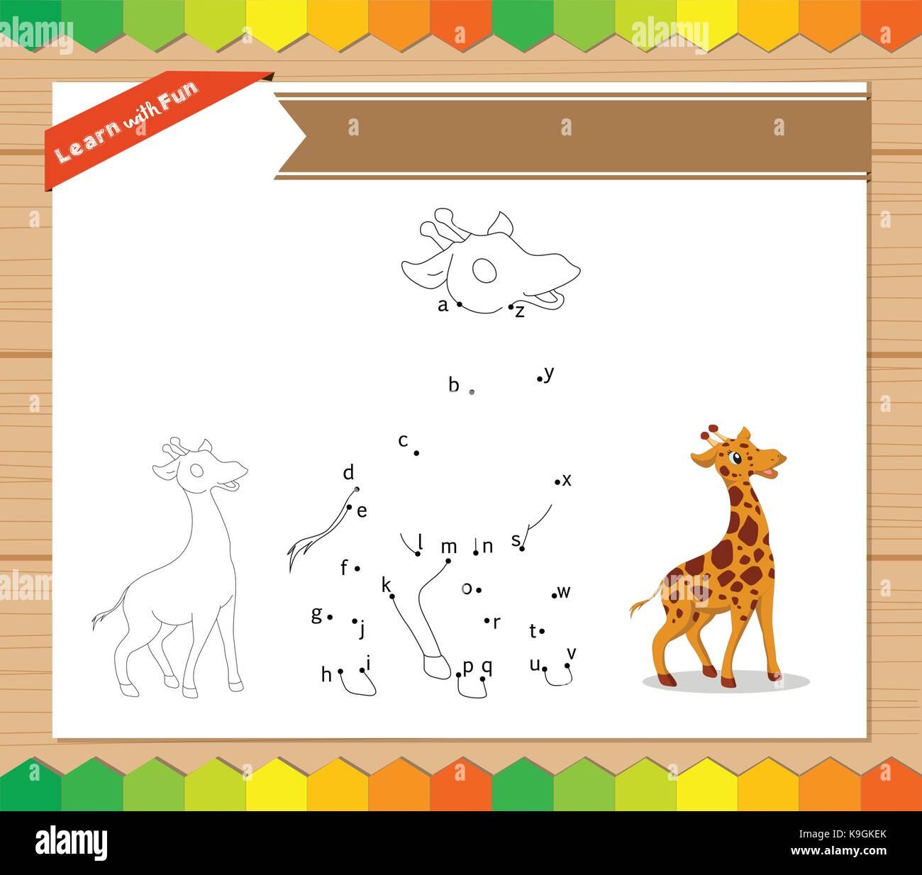 Cartoon Giraffe. Punkt zu Punkt Lernspiel für Kinder. Arbeitsblatt ...