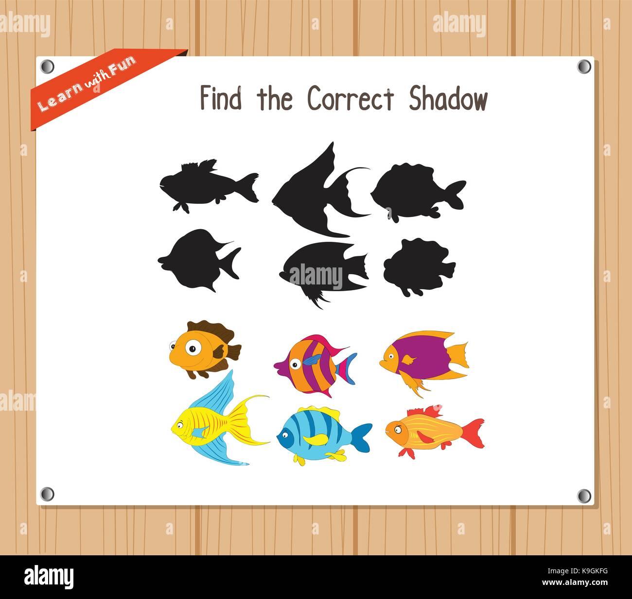 Finden Sie die richtigen Schatten, Bildung Spiel für Kinder - Fisch ...