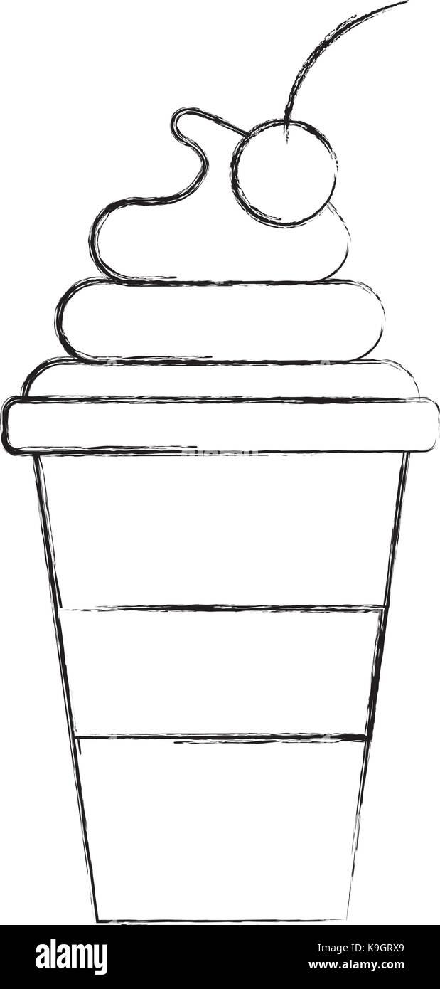 Tasse Eis Kirsche Cartoon Dessert Vektor Abbildung Bild 160795217