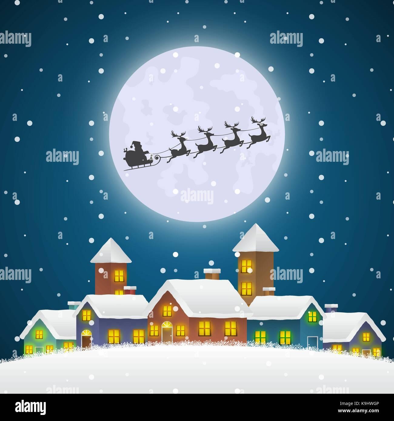 Weihnachten Santa Claus fliegen auf einem Schlitten über den Winter ...
