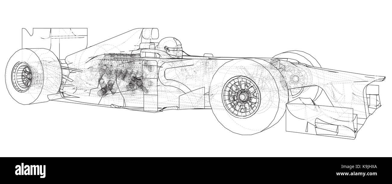 Modell Formel 1 Auto Wire Frame Eps 10 Format Vektor Rendering Diagram Von 3d