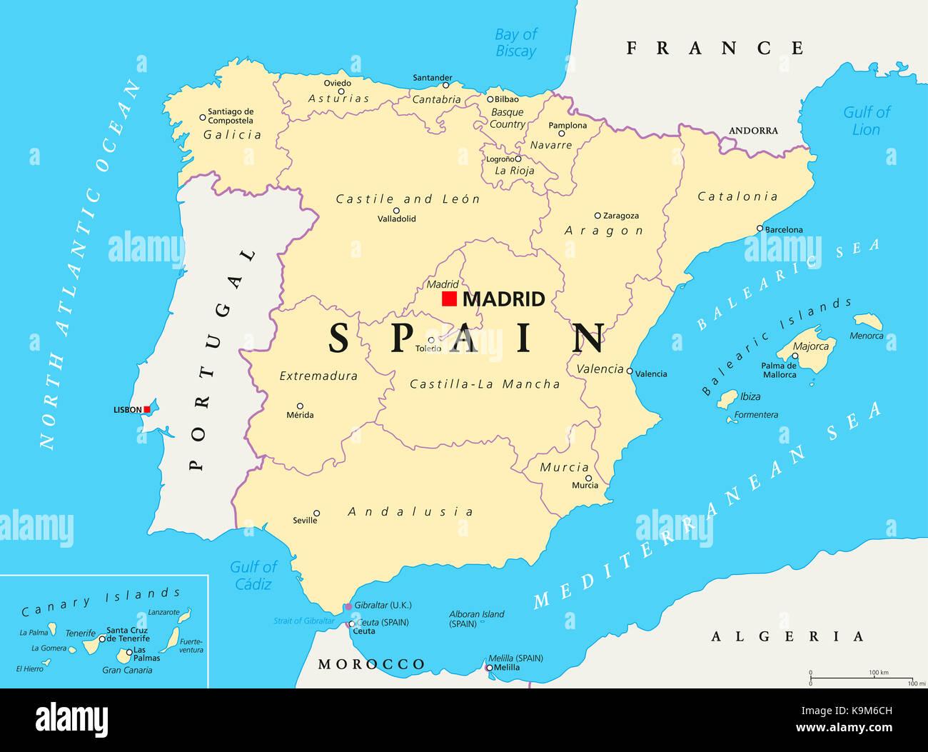 Autonome Regionen Spanien Karte.Spanien Verwaltungsgebiete Politische Karte Autonome