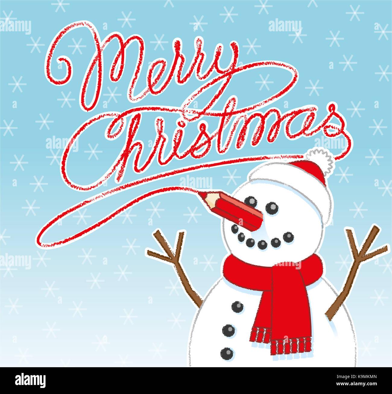 Happy Schneemann mit roter Stift Nase schreiben Frohe Weihnachten ...