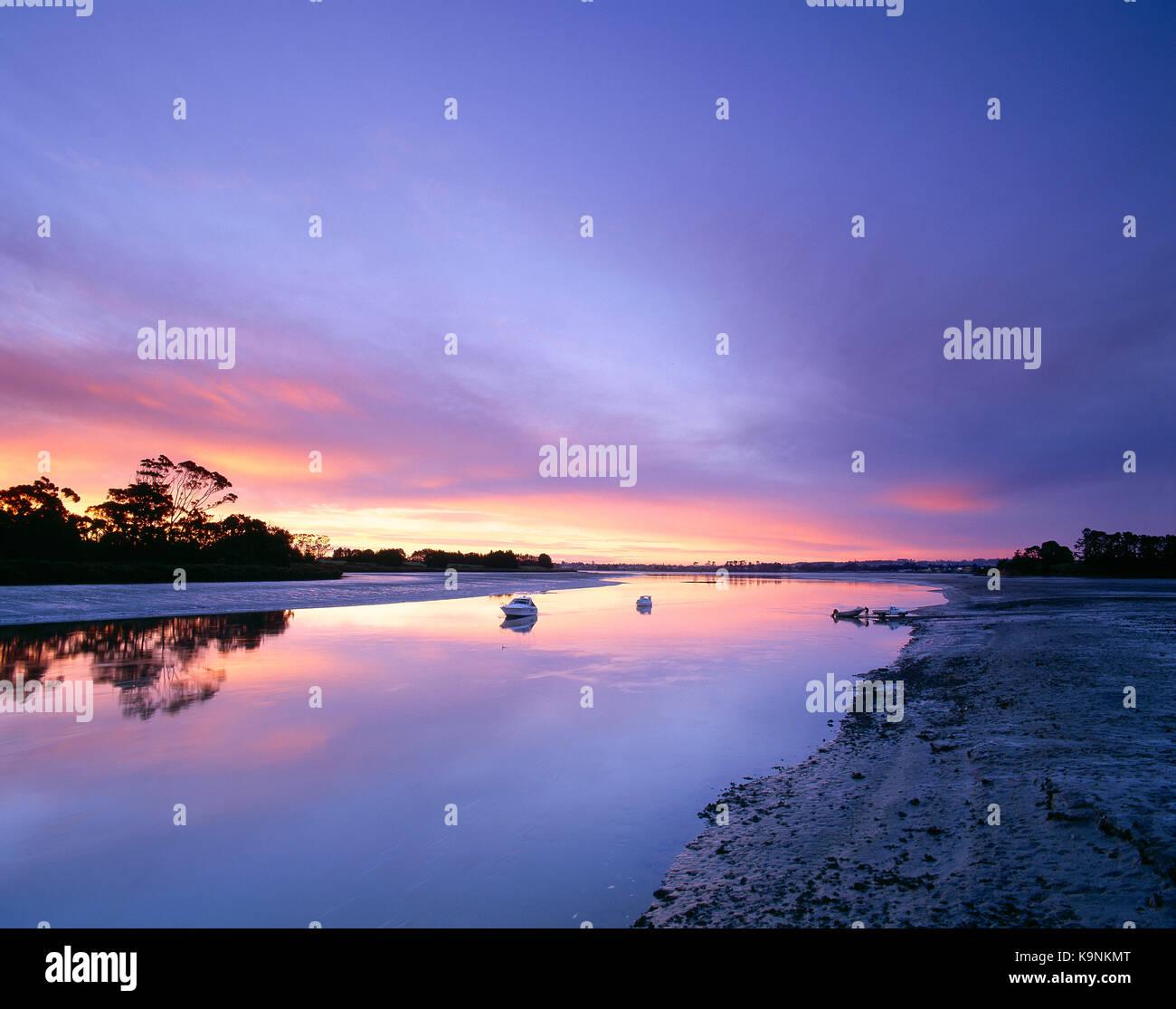 Neuseeland. Manukau Harbour. Bottletop Bay in der Morgendämmerung. Stockbild