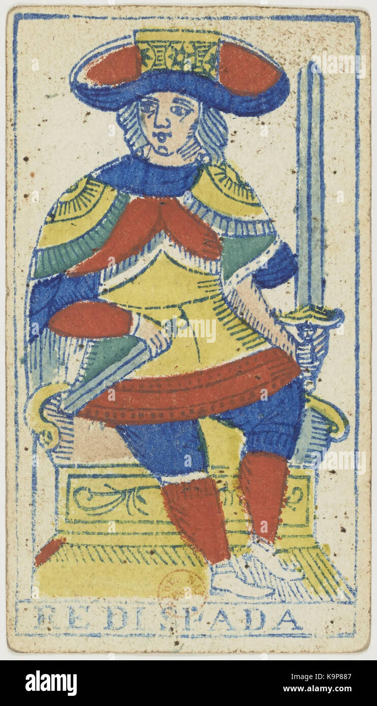 Piemonteser Tarot Deck Solesio 1865 König Der Schwerter Stockfoto