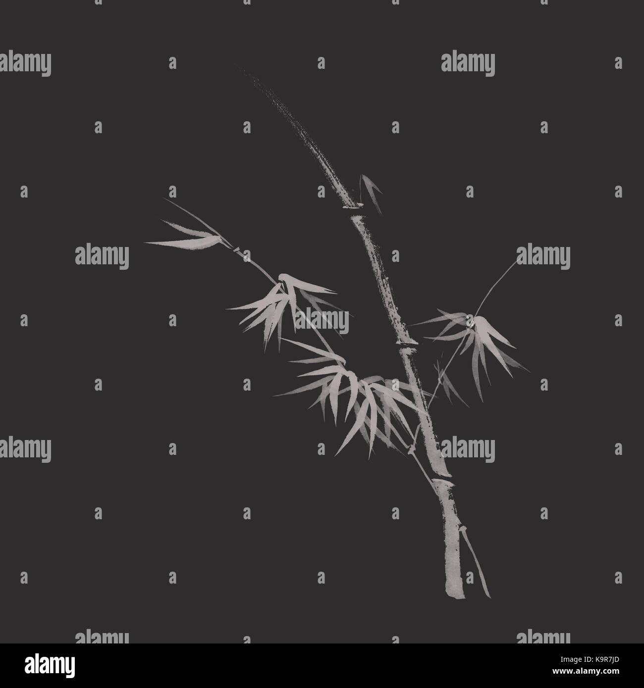 Elegante Japanische Zen Kunst Design In Modernen Farben Eines Bambus Stiel  Mit Blättern, Künstlerische Abbildung Auf Dunkelgrau, Fast Schwarz  Hintergrund