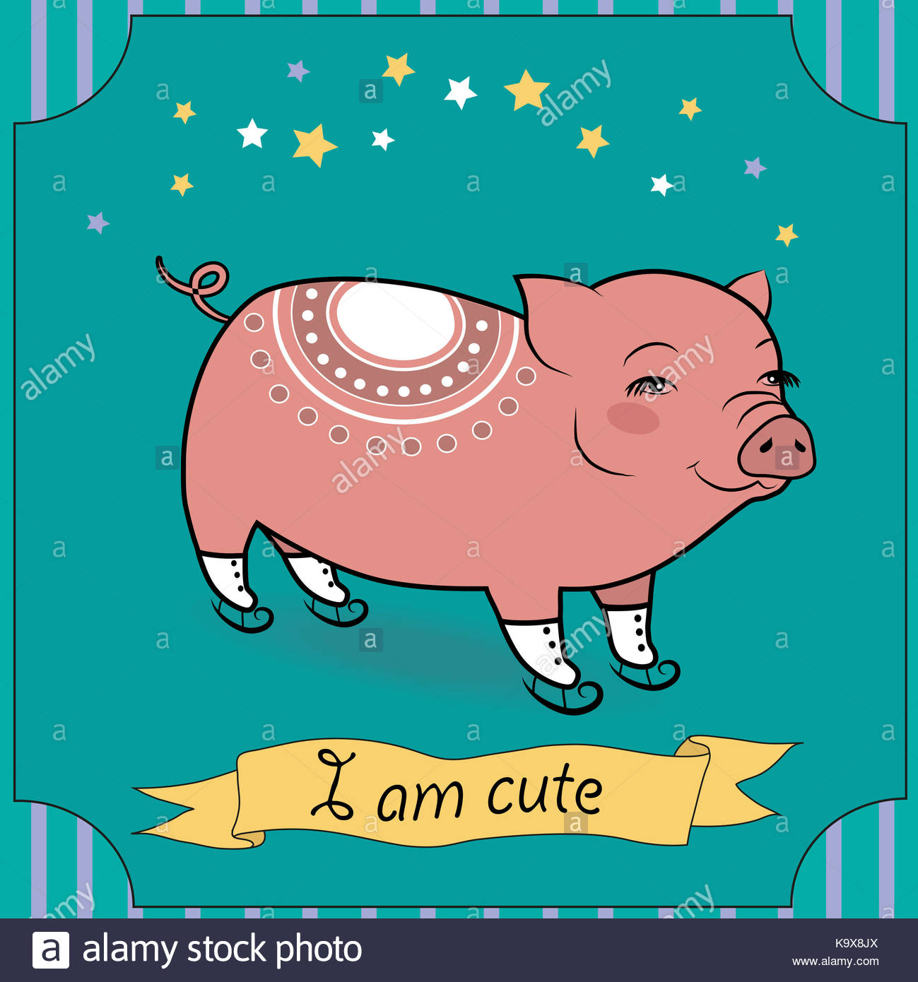 Nettes Schwein mit Schlittschuhen. Cartoon Pink Pig mit weißem Dekor ...