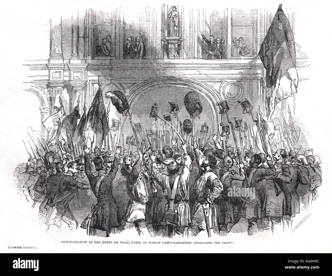 Lamartine Adressierung der Masse, Demonstration im Hôtel de Ville, Paris, Frankreich, die französische Stockbild