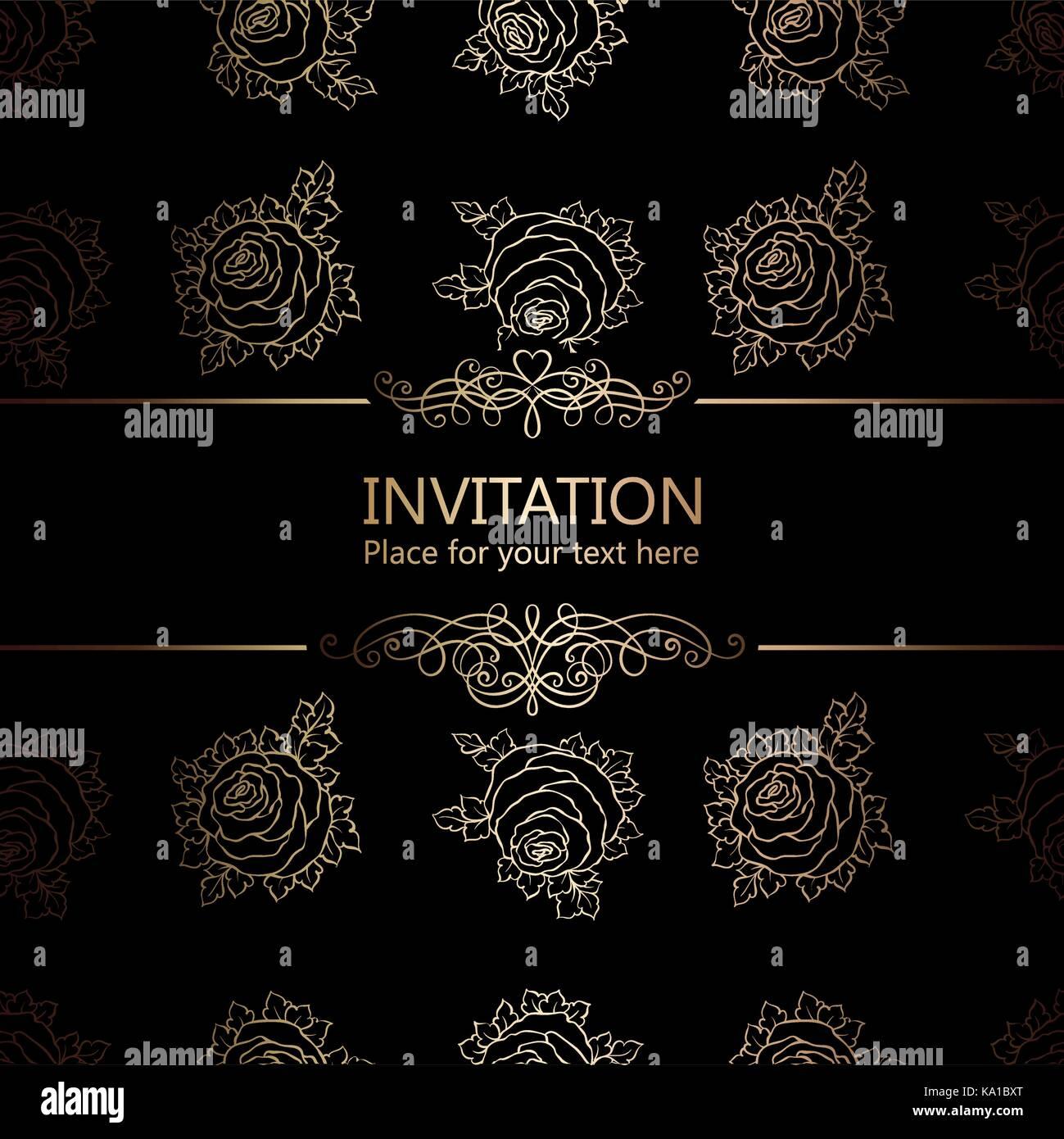 Zusammenfassung Hintergrund mit Rosen, Luxus schwarz und gold ...